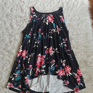 Womens Navy Blue Floral Flowy Top